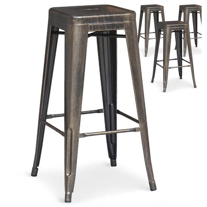 lot de 4 tabourets de bar lok m tal bronze achat vente tabouret de bar marron cdiscount. Black Bedroom Furniture Sets. Home Design Ideas