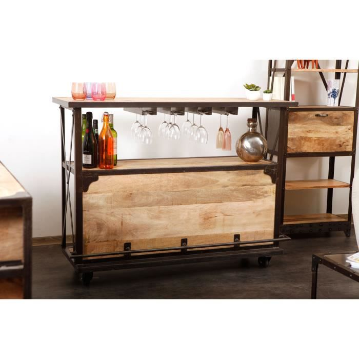 miliboo bar design industriel bois massif ind achat vente meuble bar industria bar. Black Bedroom Furniture Sets. Home Design Ideas