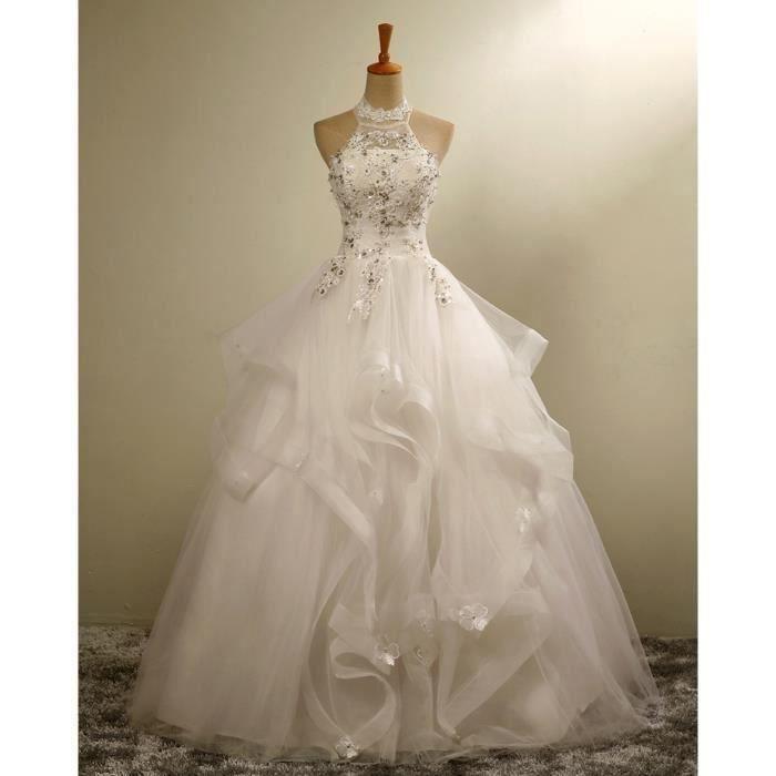 Robe de mariee princesse col haut de forme