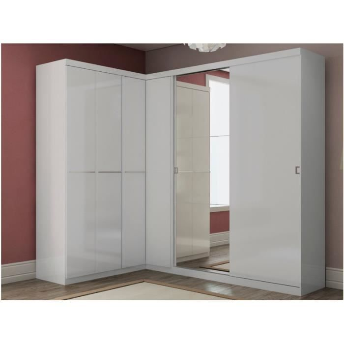 armoire dressing d 39 angle olof avec miroir 6 portes blanc achat vente armoire de chambre. Black Bedroom Furniture Sets. Home Design Ideas