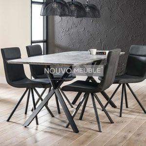 TABLE À MANGER SEULE Table à manger moderne effet béton NINE 2  190 cm