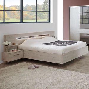 STRUCTURE DE LIT Lit contemporain couleur bois blanc SABRINA Marrro
