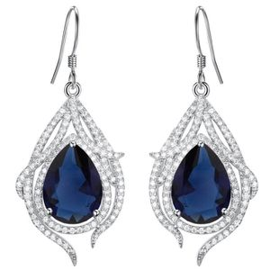 Argent Sterling Saphir Bleu /& Blanc Zircon Dangle Boucles d/'oreilles