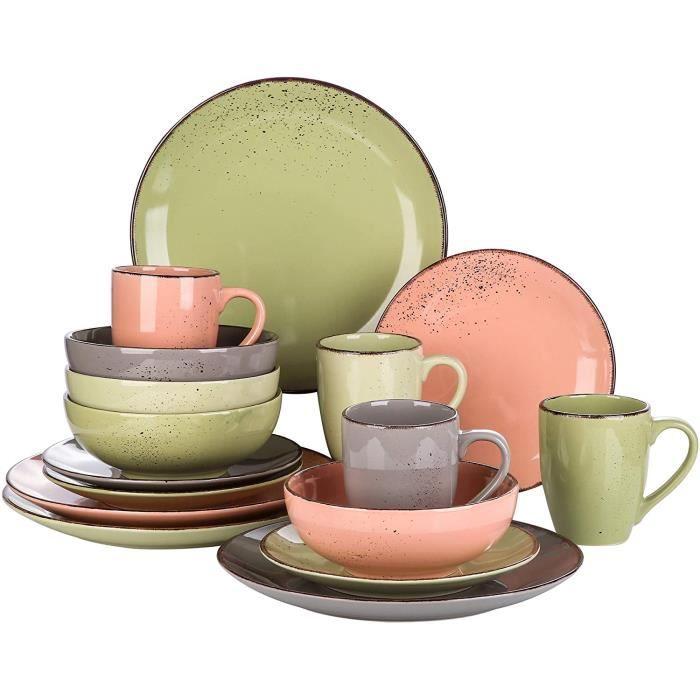 vancasso, Série Navia, Service de Table en Céramique, 16 Pièces, Assiette Faïence Style Moderne