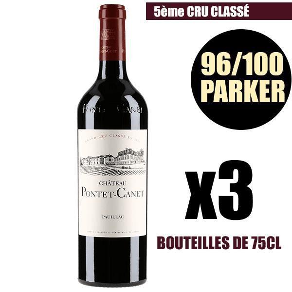 X3 Château Pontet-Canet 2015 75 cl AOC Pauillac Rouge 5ème Cru Classé Vin Rouge