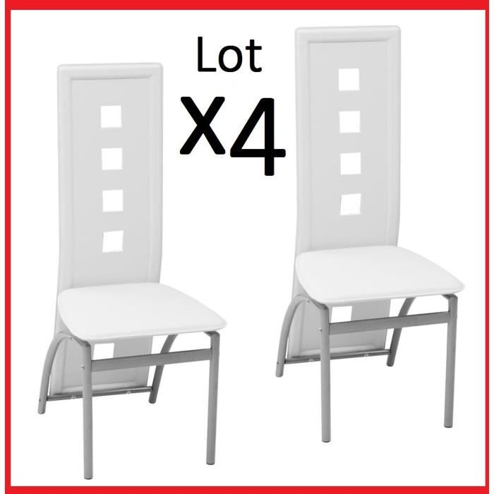 Lot de 4 Chaises en Acier Laqué et Similicuir Blanc de table à manger Salon reception dosseret rectangulaire carré