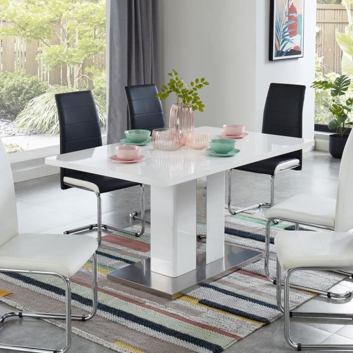 JADE Table à manger - laqué blanc brillant - L150cm