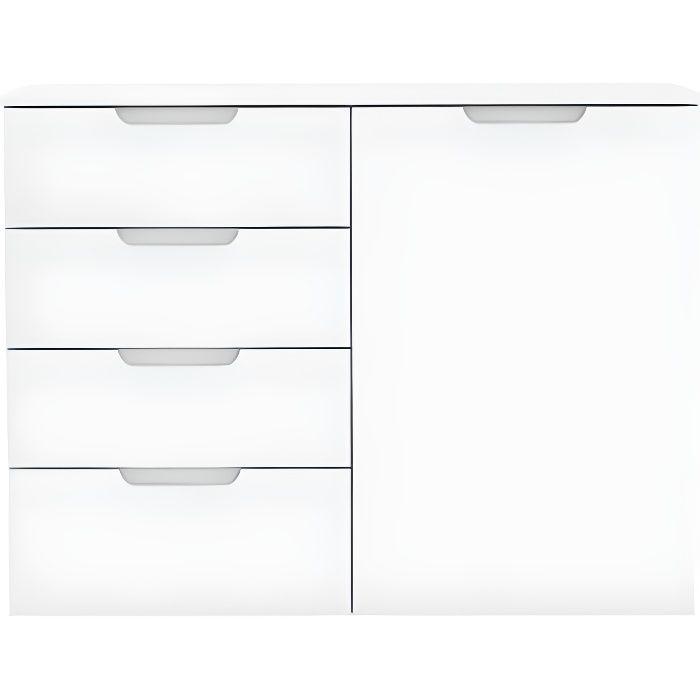 Commode dressing blanc laqué 1 porte, 4 tiroirs - PURE