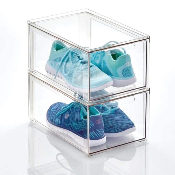 mDesign boite de rangement plastique avec tiroir – bac de rangement plastique bas pour les chaussures – boite empilable pour accesso