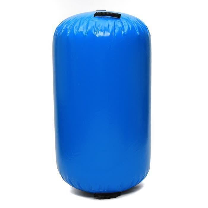 TEMPSA Tapis Gonflable Rouleau Gymnastique Yoga PVC 100x85cm Bleu