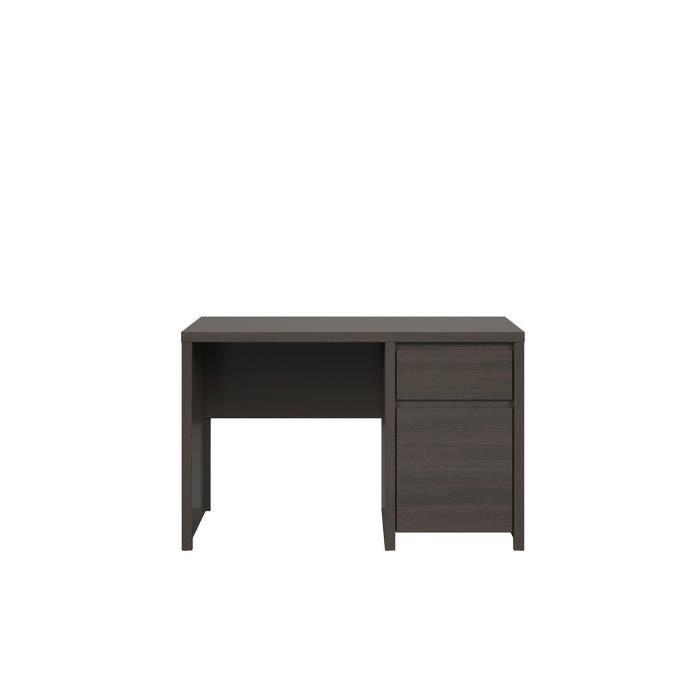 KASPIANO - Bureau chambre d'ado/cabinet/bureau - Style scandinave - 120x65x77 cm - Tiroir + Porte - Table d'ordinateur - Wengé