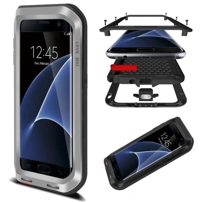 Coque Samsung Galaxy S7,Antichoc Etanche Protection Extrème Aluminium d'Armure Métal Housse Etui pour Samsung Galaxy S7 argent