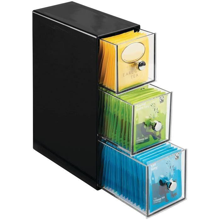 boite de rangement cuisine avec 3 tiroirs – casier de rangement pour sachets de thé, tisane, infusion, dosette de café, édulc
