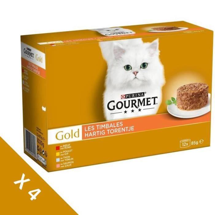 [Lot de 4 / 12 x 85g] GOURMET Gold Les Timbales - Pour chat adulte - 4 boîtes de 12 x 85g