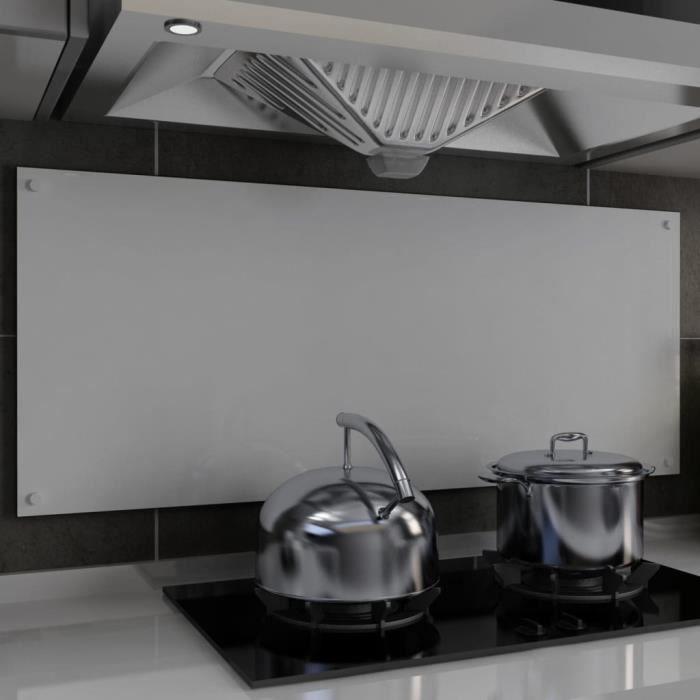 /PLAQUE ANTI-PROJECTION/ ECRAN ANTI-PROJECTION/Dosseret de cuisine Blanc 120 x 50 cm Verre trempé