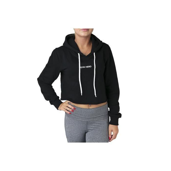 GymHero Hoodie CROP-VICTORIA sweat-shirt pour femme Noir