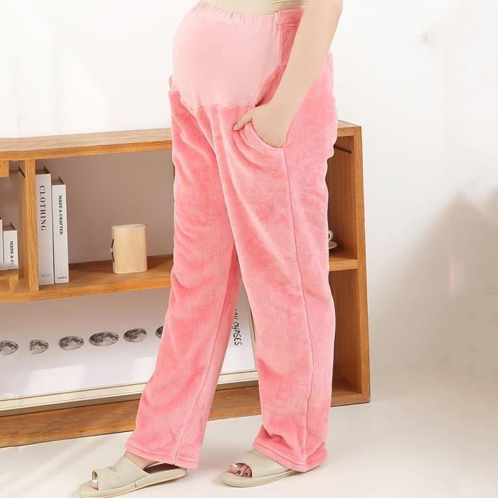Femmes enceintes maternité solide chaud fourrure legging pantalon décontracté lâche Rose Yuanliae2020