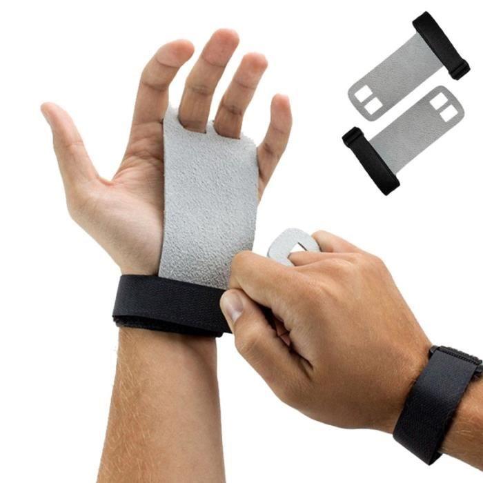 Une paire de gants Crossfit en cuir de vache Grip Palm Protector tirer vers le haut Poids de poids haltères gymnastique poignées