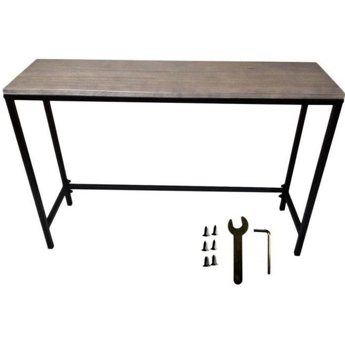 Table industriel Avec serrure en chêne Planked et métal vintage Meuble salle a manger 1050 * 300 * 710mm - noir