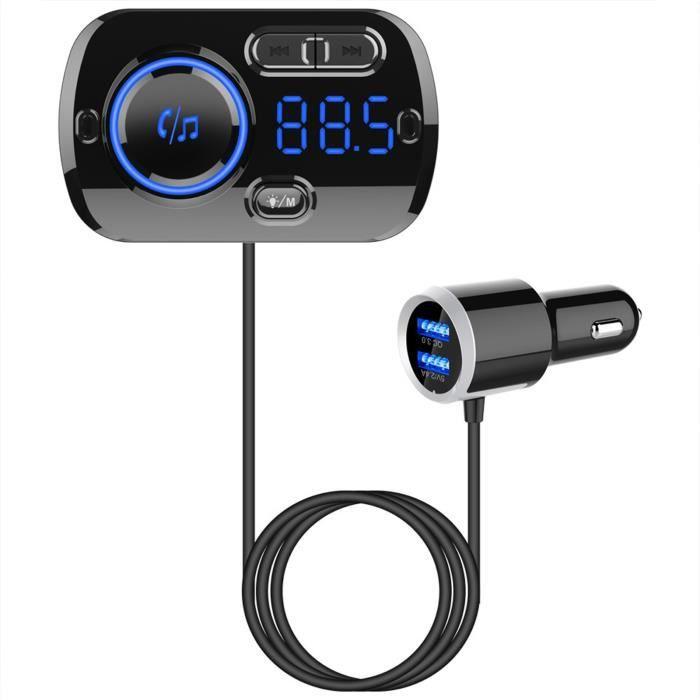 TD® Transmetteur FM Bluetooth puissance lecteur mp3 Voiture Mains Libres Adaptateur Radio sans Fil Kit chargement téléphones