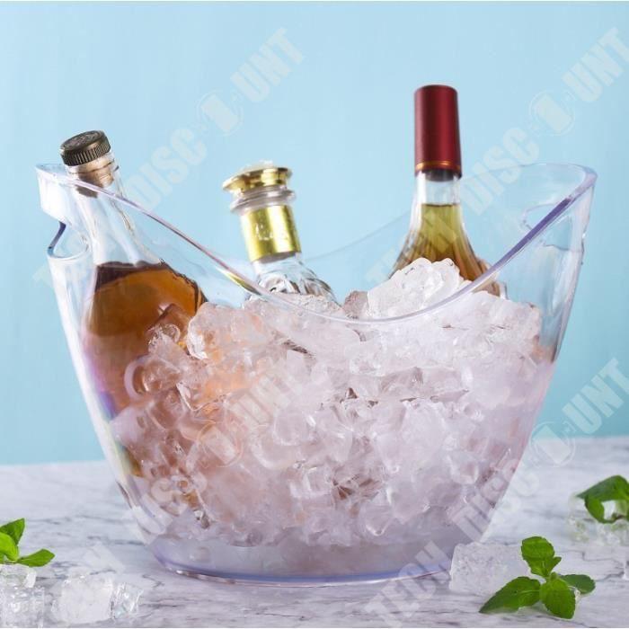 TD® Seau à Glace pour Champagne de 3 Bouteilles/Transparent/ Rafraîchisseur/ Tenir au Frais
