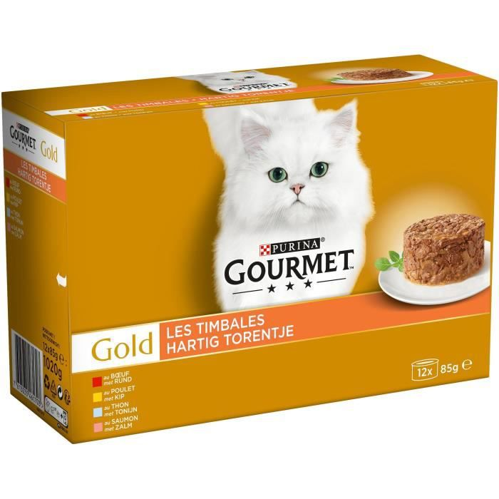 GOURMET GOLD Boîtes Les Timbales - 12 x 85 g - Chat adulte