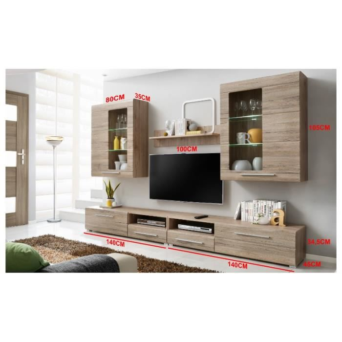 Ensemble complet salon timber 280 bois mur tv achat for Ensemble salon bois