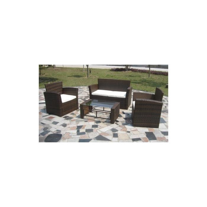 Ensemble de canap s et table basse en r sine tress e marron achat vente salon de jardin Table basse de jardin en resine