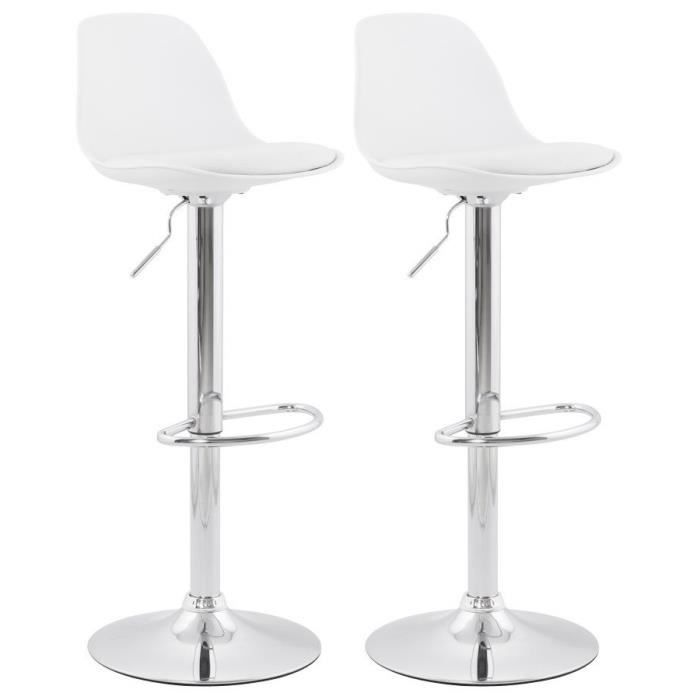 ho lot de 2 tabouret de bar blanc avec dossier achat vente tabouret de bar blanc cdiscount. Black Bedroom Furniture Sets. Home Design Ideas
