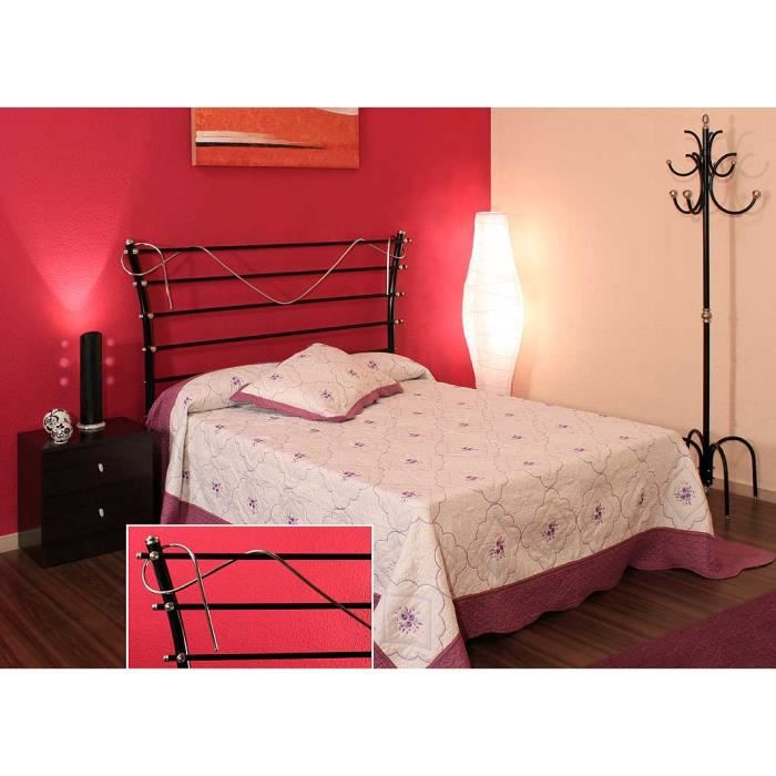 lit et t te de lit en acier et fer forg mod achat vente structure de lit lit et t te. Black Bedroom Furniture Sets. Home Design Ideas