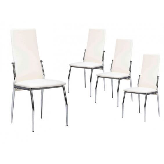 City lot 4 chaises blanches achat vente chaise blanc - Lot 4 chaises blanches ...