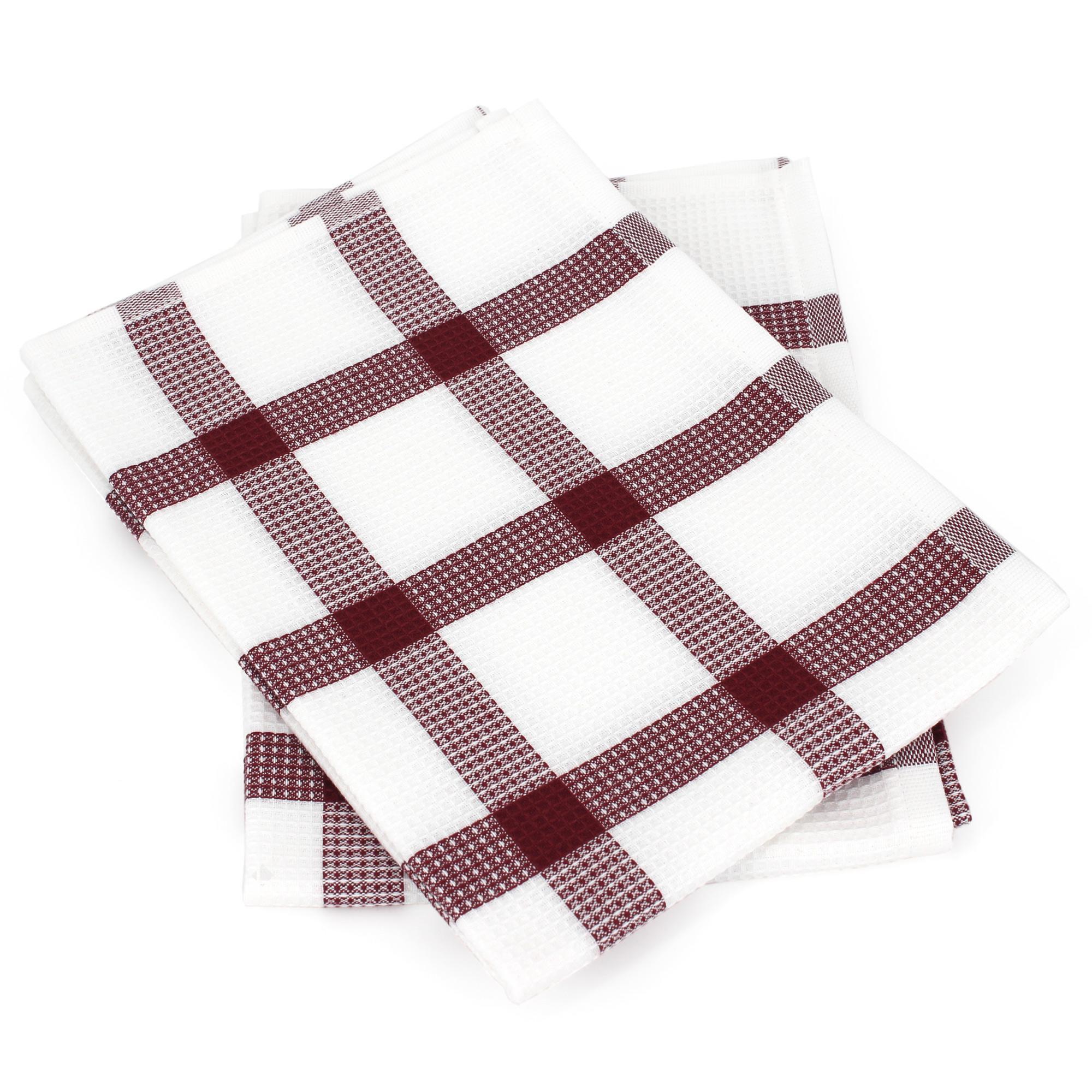 2 x Pack de 3 fines rayures rouge blanc 100/% Coton Cuisine Torchons