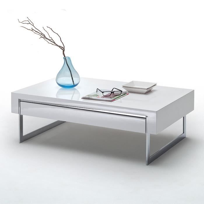 table basse blanche laqu e design avec pieds chrom s achat vente table basse table basse. Black Bedroom Furniture Sets. Home Design Ideas