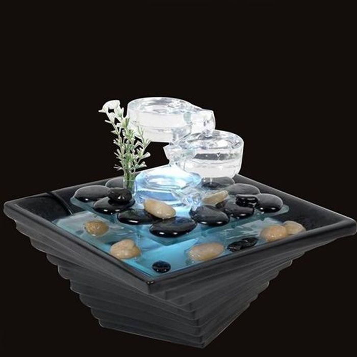 Fontaine d 39 int rieur led en verre himalaya achat vente for Fontaine d interieur