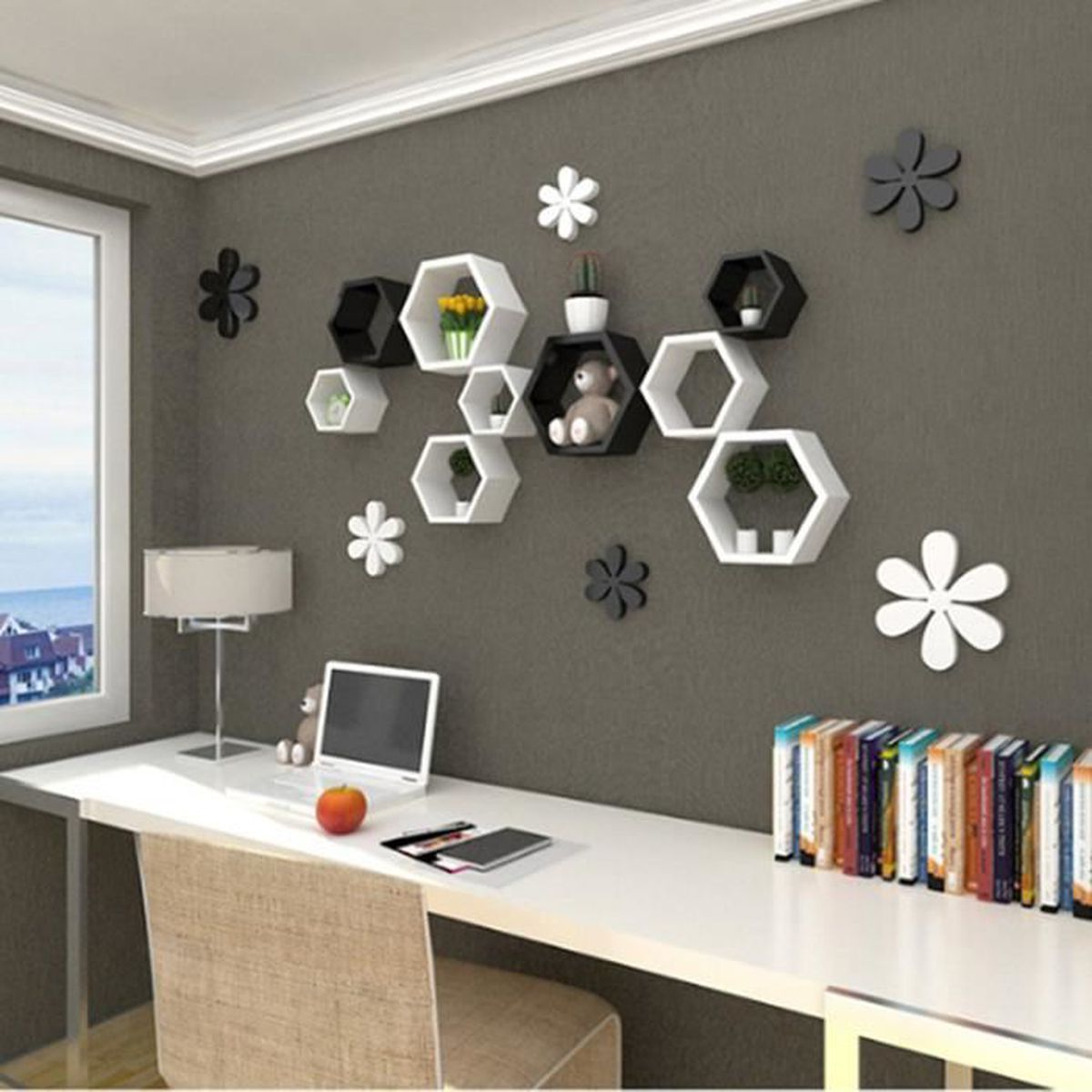 blanc set de 3 tag res murales de rangement tag re. Black Bedroom Furniture Sets. Home Design Ideas