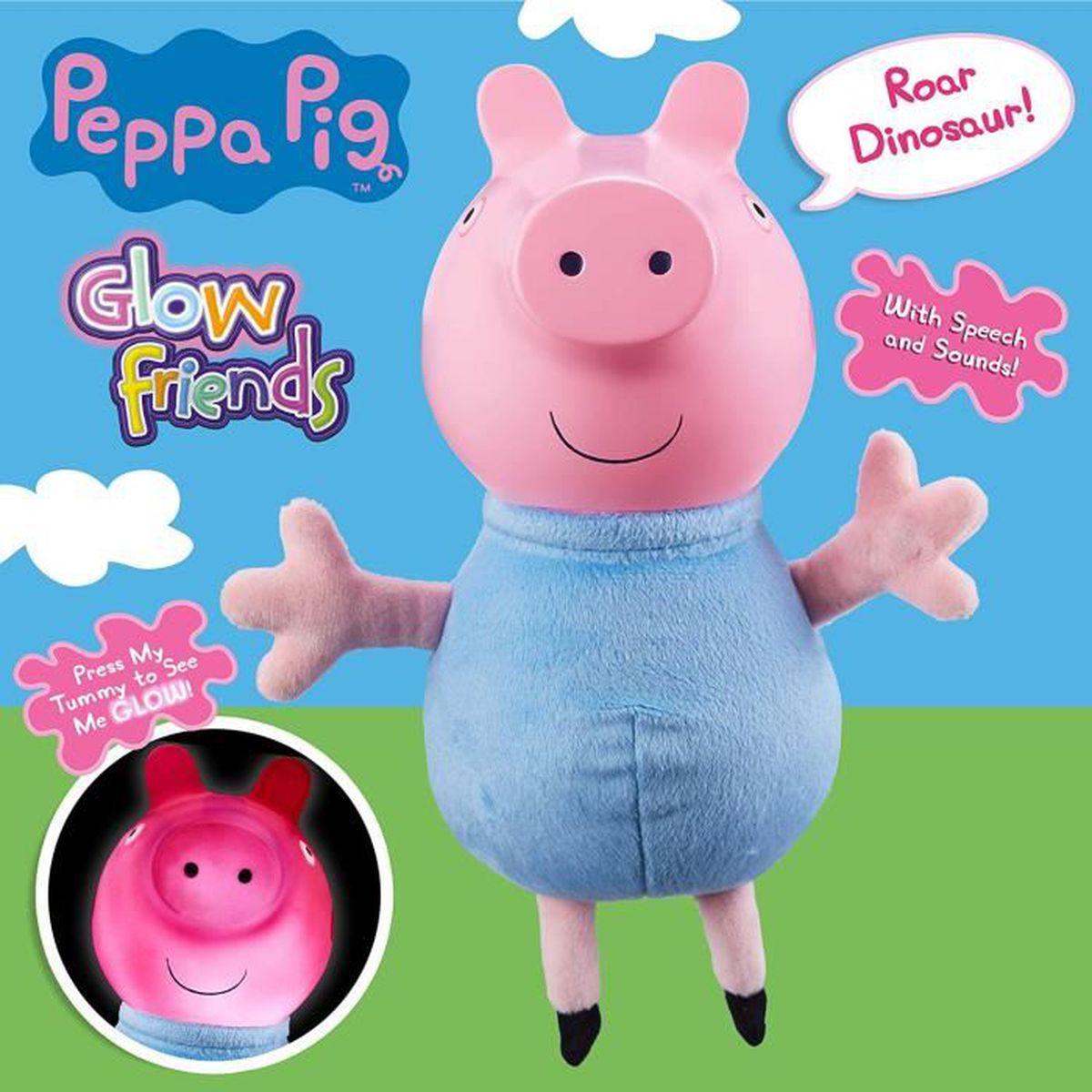 PEPPA PIG 22 cm GLOW FRIENDS PELUCHE PARLANTE-GEORGE PEPPA ou NEUF
