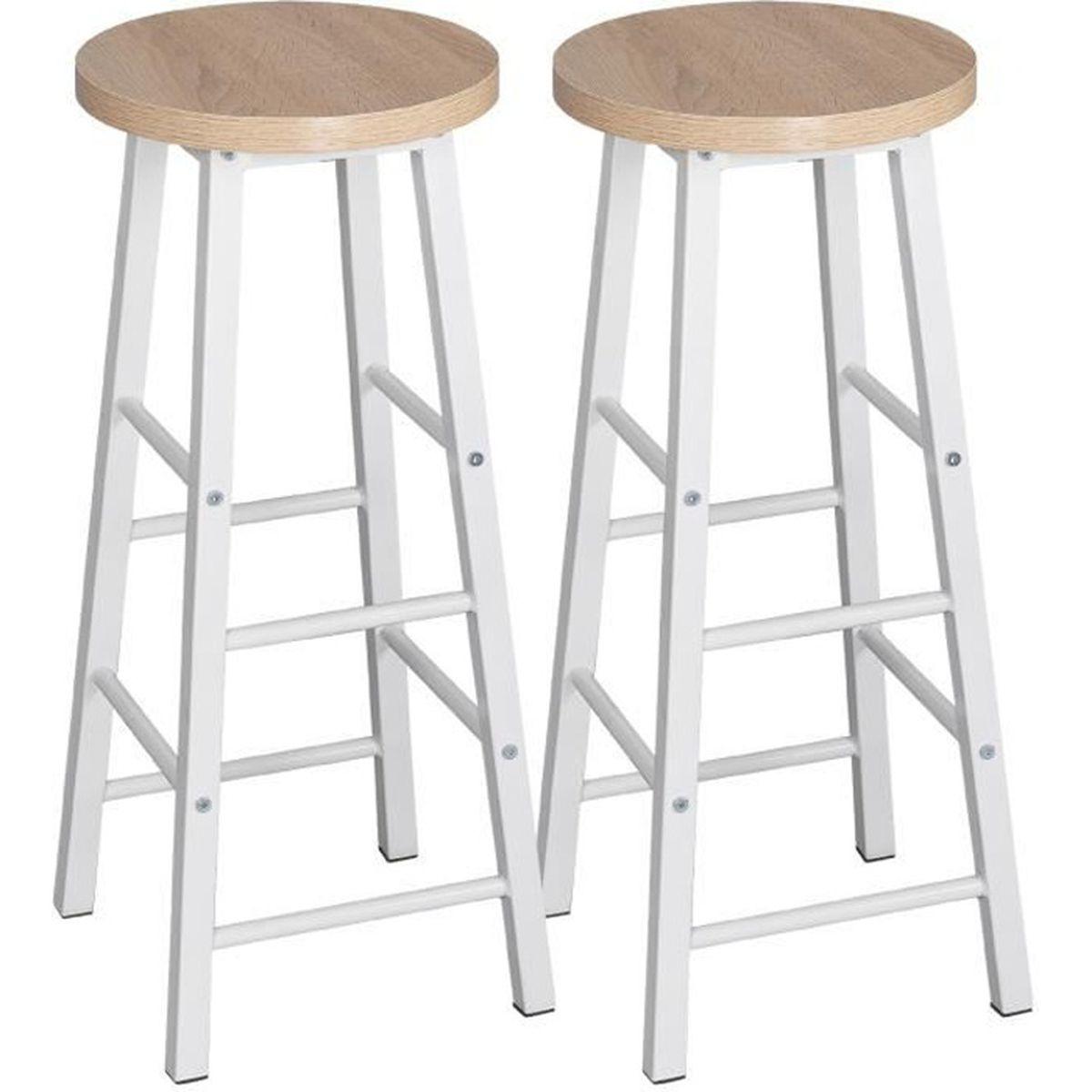 Démonter Un Tabouret De Bar woltu lot de 2 tabourets de bar-bistrot, tabouret de cuisine, chaise de  salle à manger, structure en métal, siège en mdf,chêne clair