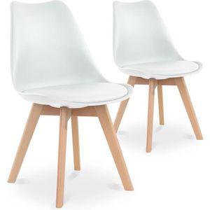 CHAISE Lot de 2 chaises style scandinave Catherina Blanc