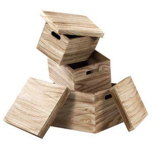BOITE DE RANGEMENT CASAME Lot de 3 boîtes en bois Aspect Vintage - 42