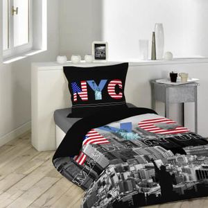 housse de couette 1 personne new york achat vente. Black Bedroom Furniture Sets. Home Design Ideas