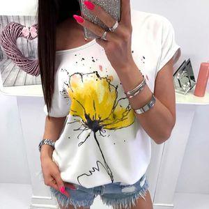 T-SHIRT Femmes Floral Print Casual Blouse à manches courte