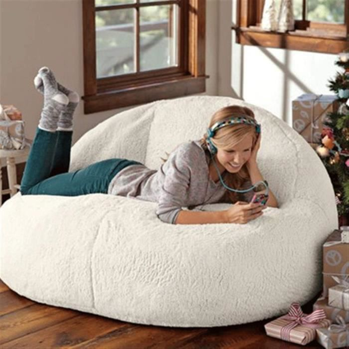 jidan Confortable Durable Bean Bag Chair Sac de Haricot Grand Agneau Velours Ensemble canap Paresseux canaplit Balcon Non rem[10416]
