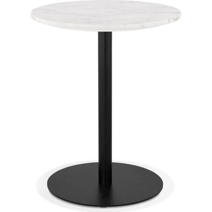 Petite table bistrot ronde 'TOMY' en marbre blanc et métal noir - Ø 60 cm