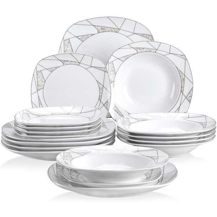 Veweet SERENA 18pcs Assiettes Service de Table Pocelaine Assiettes Plates Assiette Creuse Assiette à Dessert Vaisselles