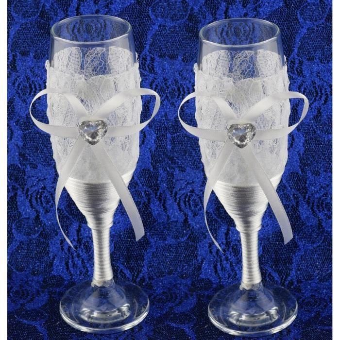 Les 2 Flûtes Verres à Champagne Cadeau Couple Mariage Soirée Fêtes Noël