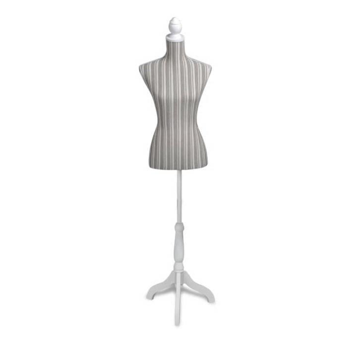 Mannequin Couture Femme - Buste Mannequin De Vitrine - Trépied Inclus - Montagne Facile&Léger - Torse 100% Lin - Blanc&A Rayures
