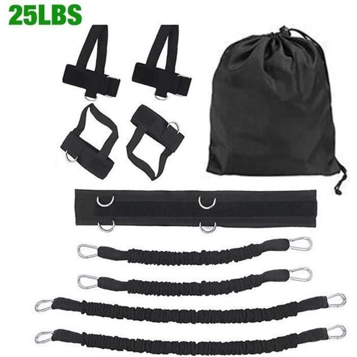 Bandes de résistance à la vitesse et à l'agilité du corps entier, Ensemble d'entraînement de la force des jambes, 25LBS