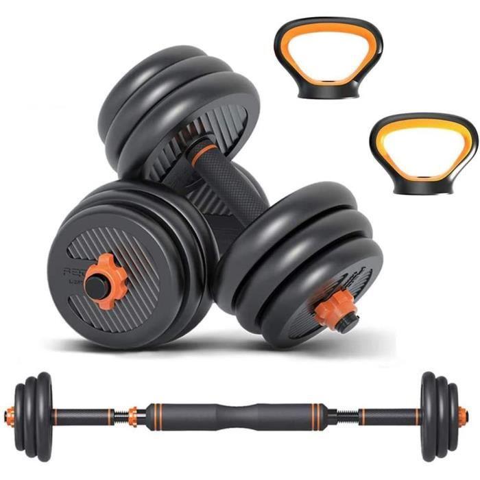 Kit Kettlebell Haltères Musculation 6 en 1 avec Barre d'Extension-20kg Haltères Réglables- Quatre Modes de Fitness Parfaits [216]