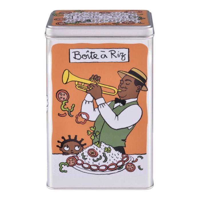 Boîte à Riz LOUISIANE en Métal Orange - de Rangement Conservation pour Déco Cuisine - Valérie Nylin DLP Derrière La Porte