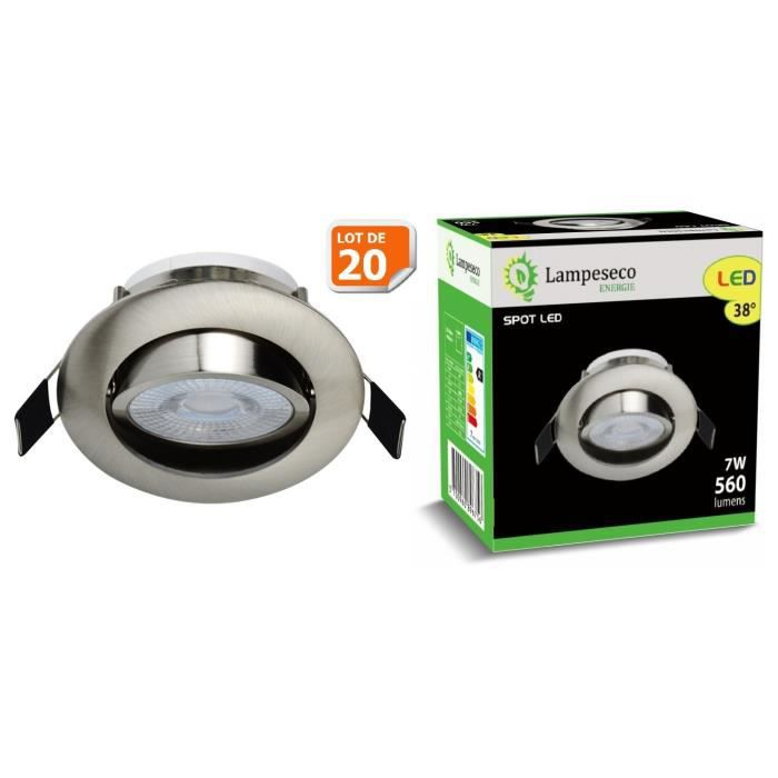 Lot de 20 Spot LED Encastrable Alu Brossé 7W Blanc Neutre 560lm source de lumière remplaçable
